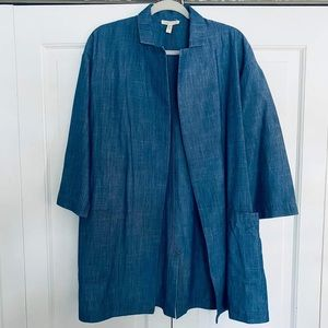 Eileen Fisher Blue Chambray Open Front Cardigan S